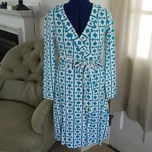 Banana Republic geometric teal/white wrap dress